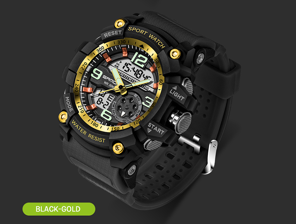 Sanda 759 Men Military Sport Watch Black Gold