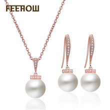 FEEHOW Temperament Simulation Pearl Simple Sweet Cute Earrings Necklace Jewelry Set for Women Wedding Dinner Party Gift FSSP3024