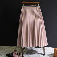 2018 Two Layer Women Suede Skirt Pink High Waist Long Pleated Skirts Womens Saias Midi Faldas