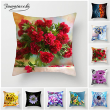 Fuwatacchi Colorful Flower Cushion Cover Sunflower Rose Dandelion Decorative Pillows Decoration Pillowcase For Car Home