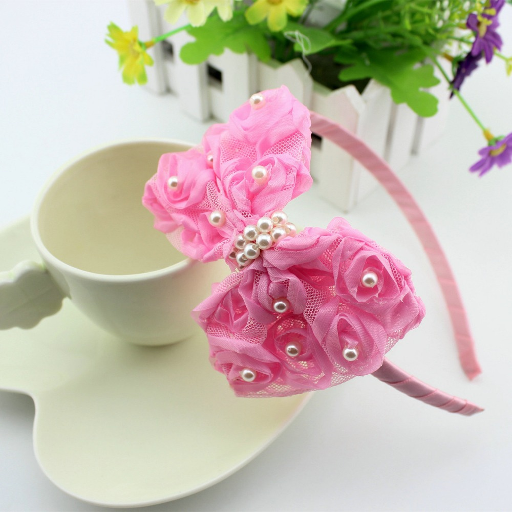 1 pieces baby Girls Flower Headbands Baby Pink hair Lace  Bow Hair lace bow band children girl Hair Accessories metting joura vintage bohemian ethnic tribal flower print stone handmade elastic headband hair band design hair accessories