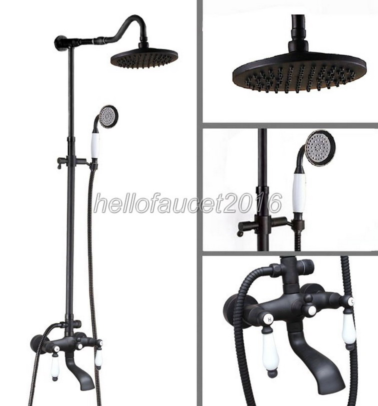 Modern Wall Mount Black Oil Rubbed Bronze Bathroom Rain Shower Faucet Set Bathtub Mixer Taps with