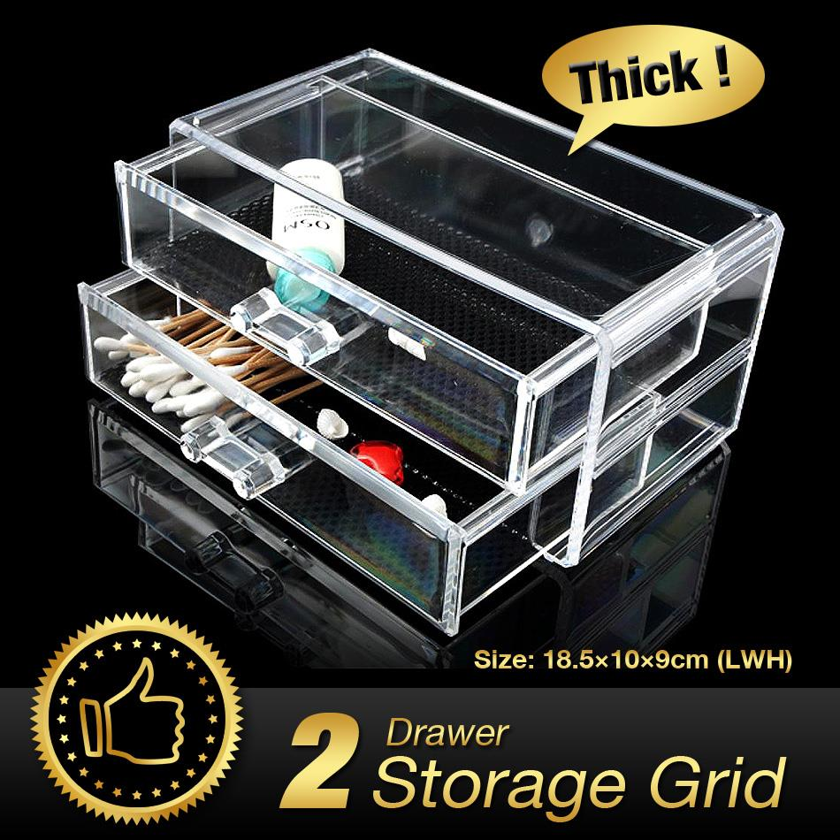 2 Grids 2 Layer Drawers Skin Care Set Storage Box Cosmetic jewelry Display Holder Lipstick Case Make up Acrylic Bins EQC379 POK