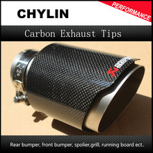 "Inlet 2.5"" Outlet 4"" Stainless car glossy Carbon Fiber Car Exhaust Tip tailpipe car-styling exhaust car muffler tip Akrapovic(China)"