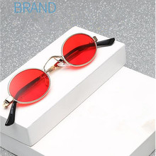 459756c007c90 BETSION Vintage Small Oval Round Sunglasses Men Women Unisex Metal Red Sun  Glasses
