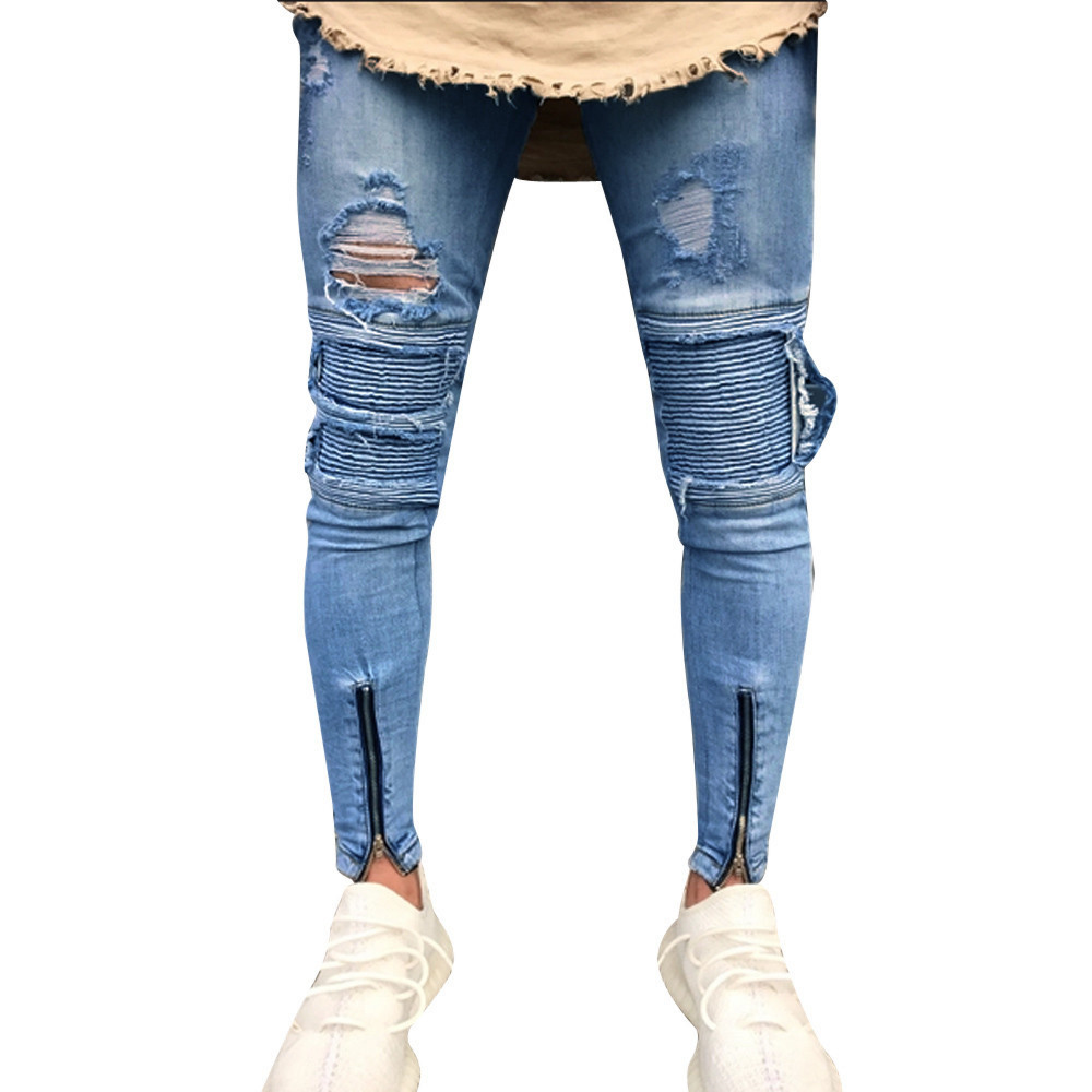 Clearance Mens Ripped Slim Motorcycle Denim Jeans Hiphop Pants Jeans Trouser
