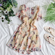 Новые модные женские платья шифоновое платье с цветочным рисунком с v-образным вырезом и коротким рукавом