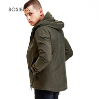 BOSIBIO Men S Hoodie Jackets Spring Autumn Solid Fashion Coats Male Casual Slim Black Army Green