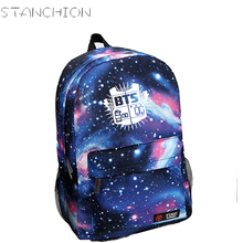 BTS Colorful Starry Sky Printing Canvas Backpack For Women School Bags For Teenage Girls Travel Daily Back Pack Mochila Feminina