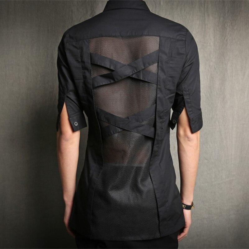 M-5XL!!!  2017 Dj Male slim half sleeve shirt breathable shirt personalized fashion top The singer's clothing