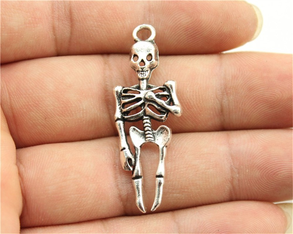 Competent Wysiwyg 6pcs 41x15mm 3 Colors Antique Gold Antique Silver Antique Bronze Skull Skeleton Charms Pendant For Jewelry Making And Digestion Helping