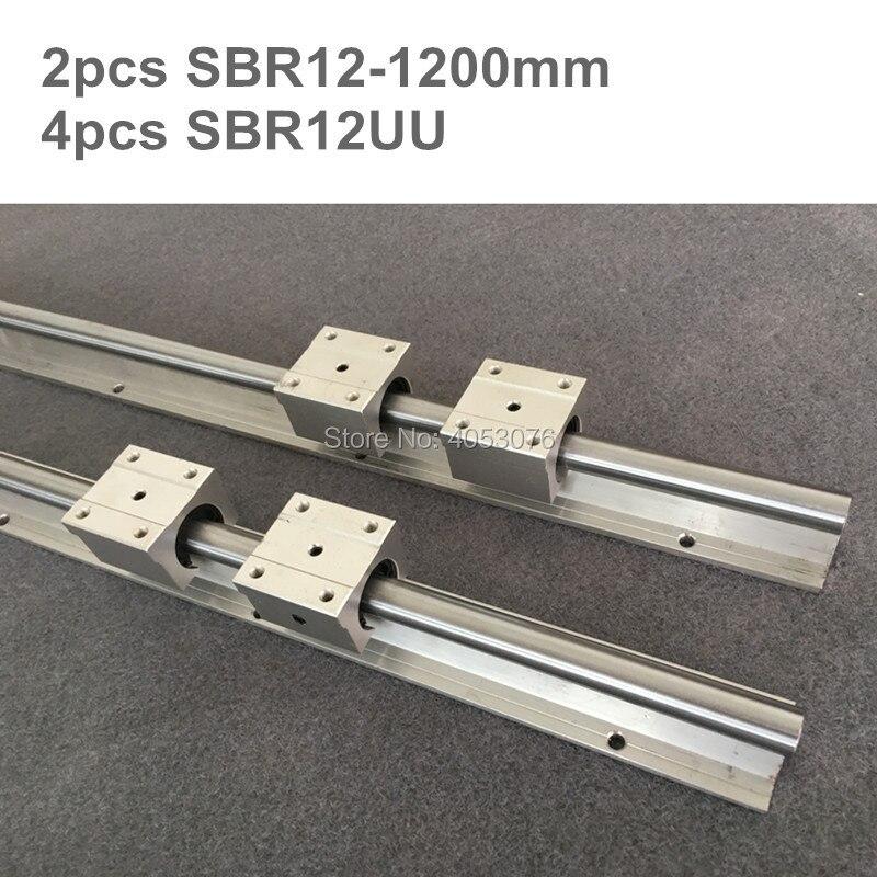 2 pcs linéaire guide SBR12 1200mm rail Linéaire support d'arbre et 4 pcs SBR12UU linéaire de roulement pour CNC pièces