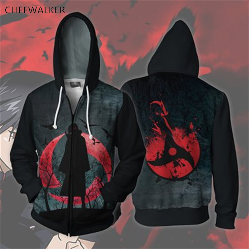 Dropshipping Spring Summer Naruto 3D Print For Men's Women's Zippers Hooded Hip hop Hoodies Pullover Pocket Lace Loose Tops