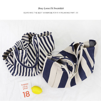 Women Canvas Large Shopping Bag Fashion Striped Cloth Reusable Tote Bag Leisure Shoulder Large Capacity Eco Shopper Bags 5