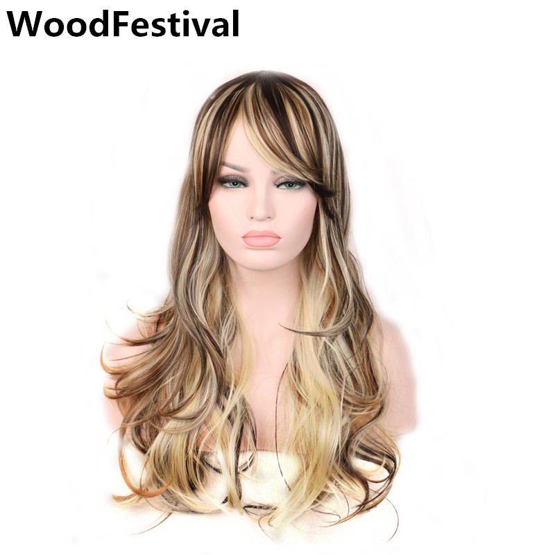 WoodFestival Mix Color Multicolor Cosplay Wig Long Wavy Wigs With Bangs Synthetic Heat Resistant