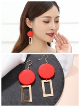 High Quality European-american Temperament Fashion Red Wood Block Geometric Personality Exquisite Earrings Cross