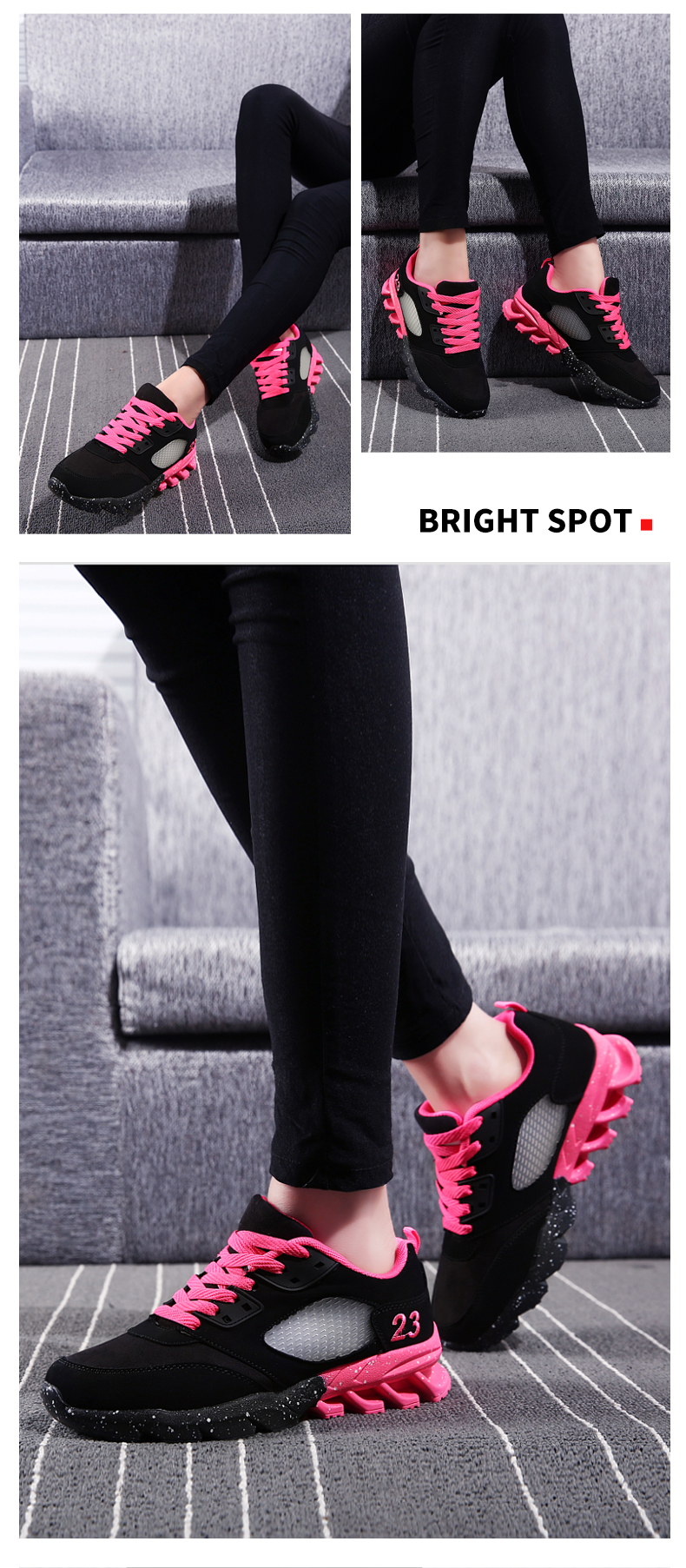 17 New Womens and Girl Brand cheap Running Shoes Outdoor Breathable Athletic Jogging Sneakers student Sport Blade Shoes black 4