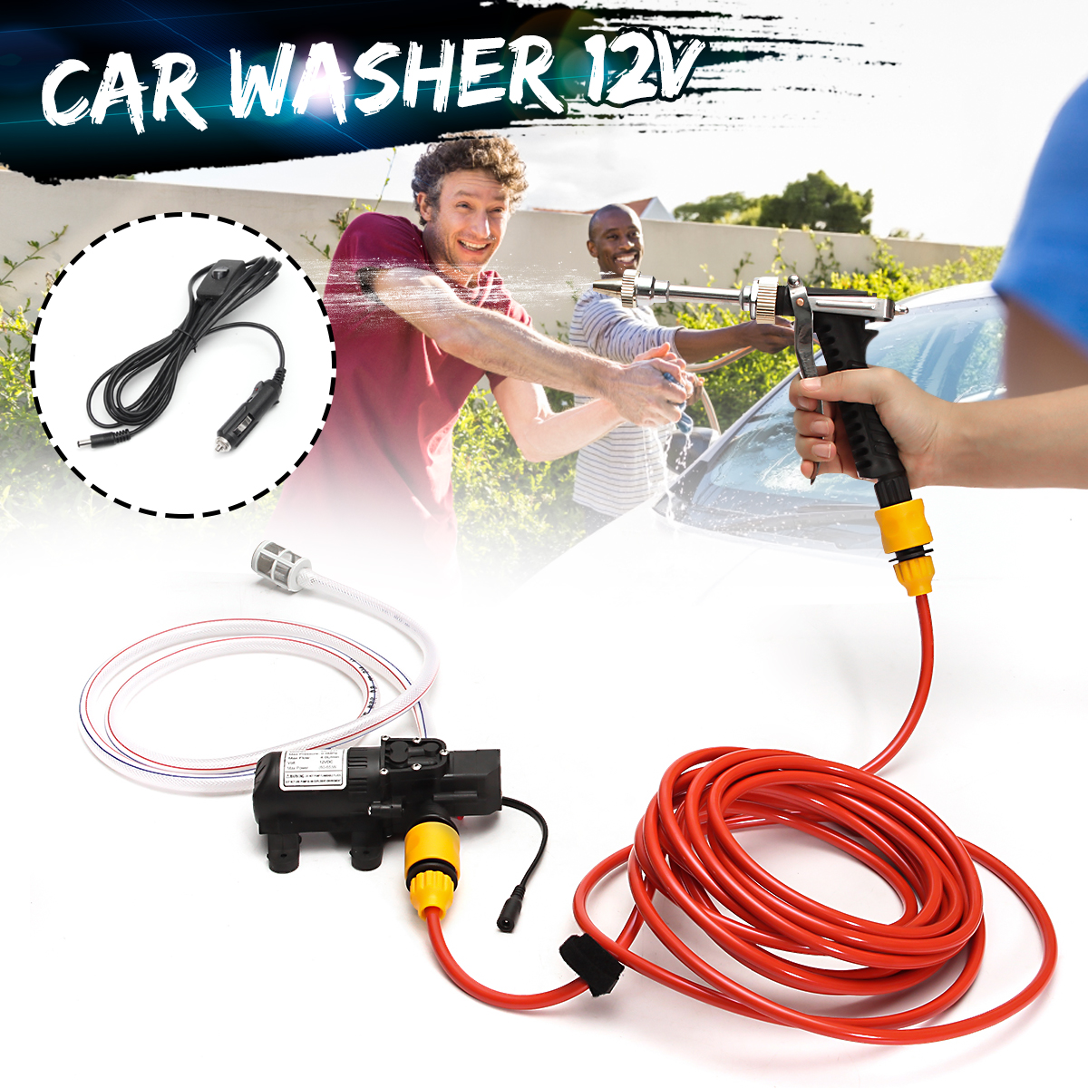 65W Portable High Pressure Car Washer 12V Electric Washing Maintenance Cleaner Water Pump Sprayer Kit Tool Auto Car Wash Machine