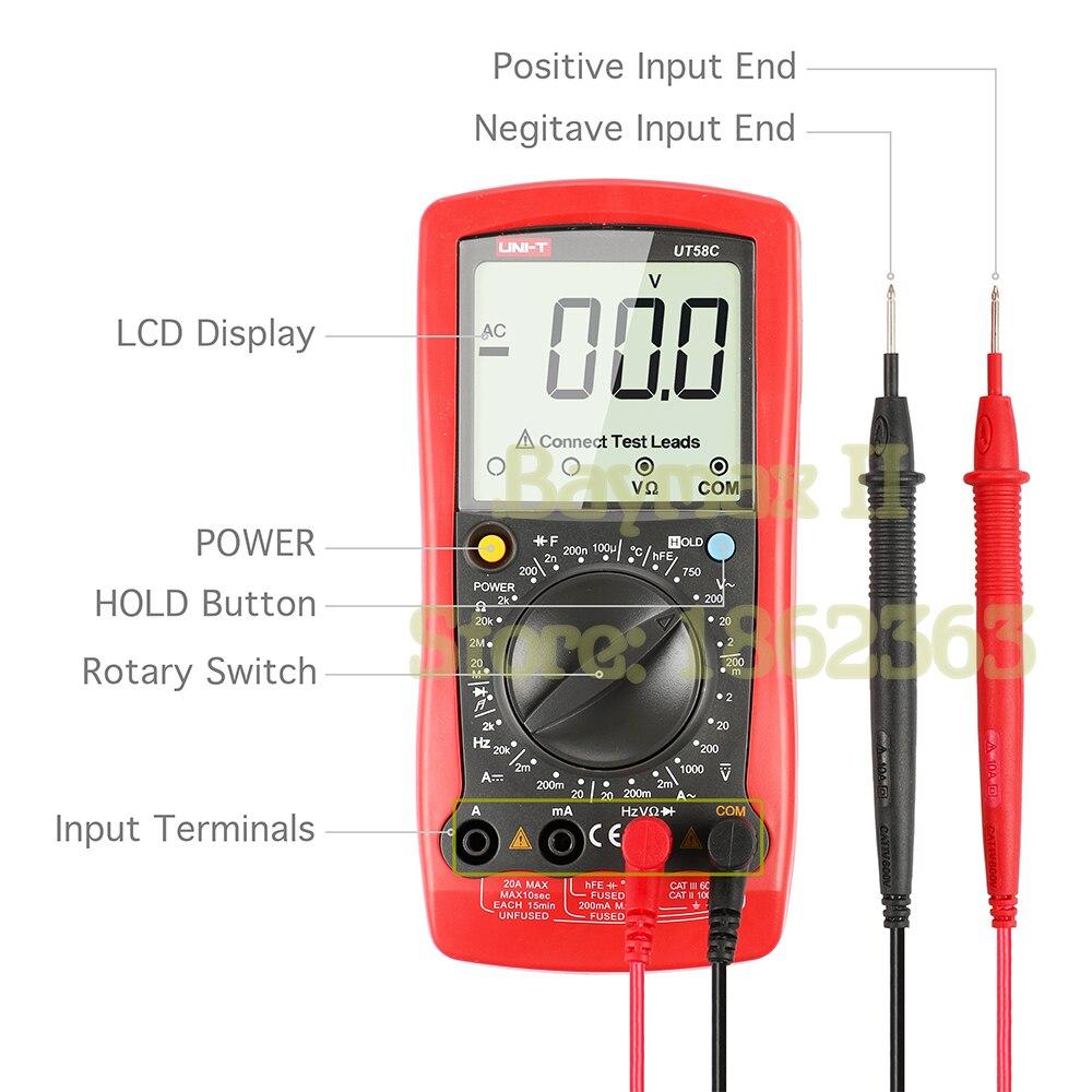 UNI-T UT58C Digital Multimeter Tester Meter Volt Amp Ohm Temperature Hz AC DC