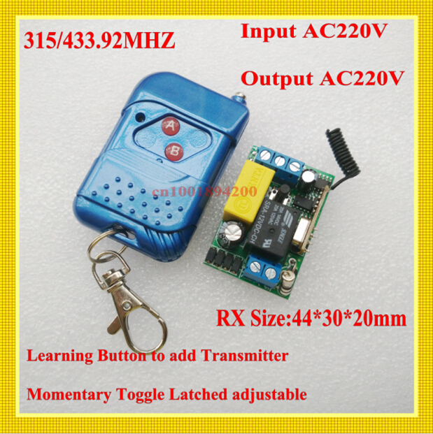 220V 1CH 10A  Mini Receiver Transmitter RF Wireless Remote Switch Momentary Toggle Latched Adjustabl Input Output AC220V 315/433 315 433mhz 12v 2ch remote control light on off switch 3transmitter 1receiver momentary toggle latched with relay indicator