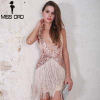Missord 2017 Sexy Deep V Off Shoulder Summer Dresses Tassel Women Backless Party Mini Dress FT8519