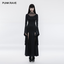 PUNK RAVE Women Long Dress Gothic Gorgeous Party Vintage  High CrossLace Mesh Sexy Dress Cosplay Witch Dresses