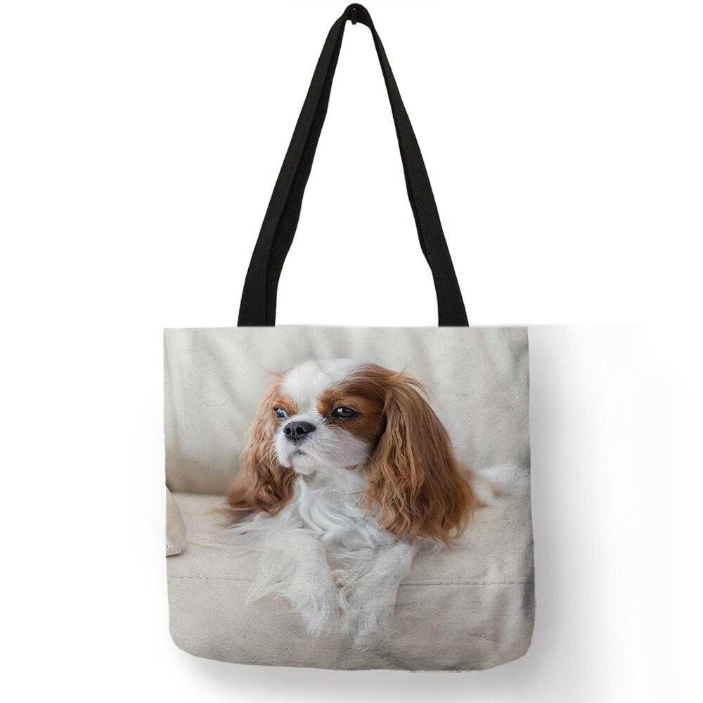 Charles Spaniel Dog Print Women Handbags Fashion Tote Shoulder Bags Large Capacity Shopping Bag Bolsa Feminina