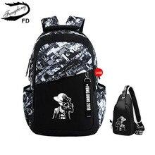 FengDong garçons sacs d'école lettres étanche grand sac à dos pour les adolescents haute école sac à dos pour garçon étudiant sac de voyage occasionnel