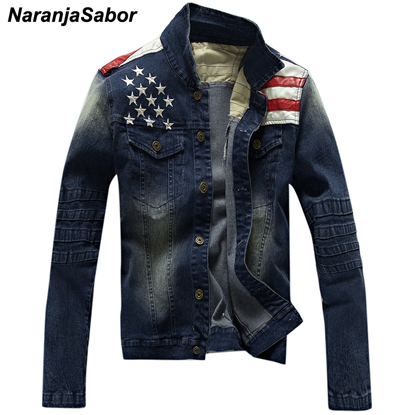 NaranjaSabor Men's Denim Jackets Fashion Pocket Star & Striped Slim Fit Jean Jacket Male Outerwear Coats Men Brand Clothing N439