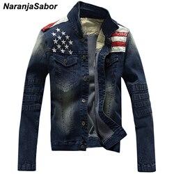 Naranjasabor jaqueta jeans masculina, casaco jeans com bolso, estrelas e listradas, slim fit, roupa de marca n439