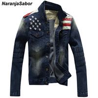 NaranjaSabor Men's Denim Jackets Fashion Pocket Star & Striped Slim Fit Jean Jacket Male Outerwear Coats Men Brand Clothing N439