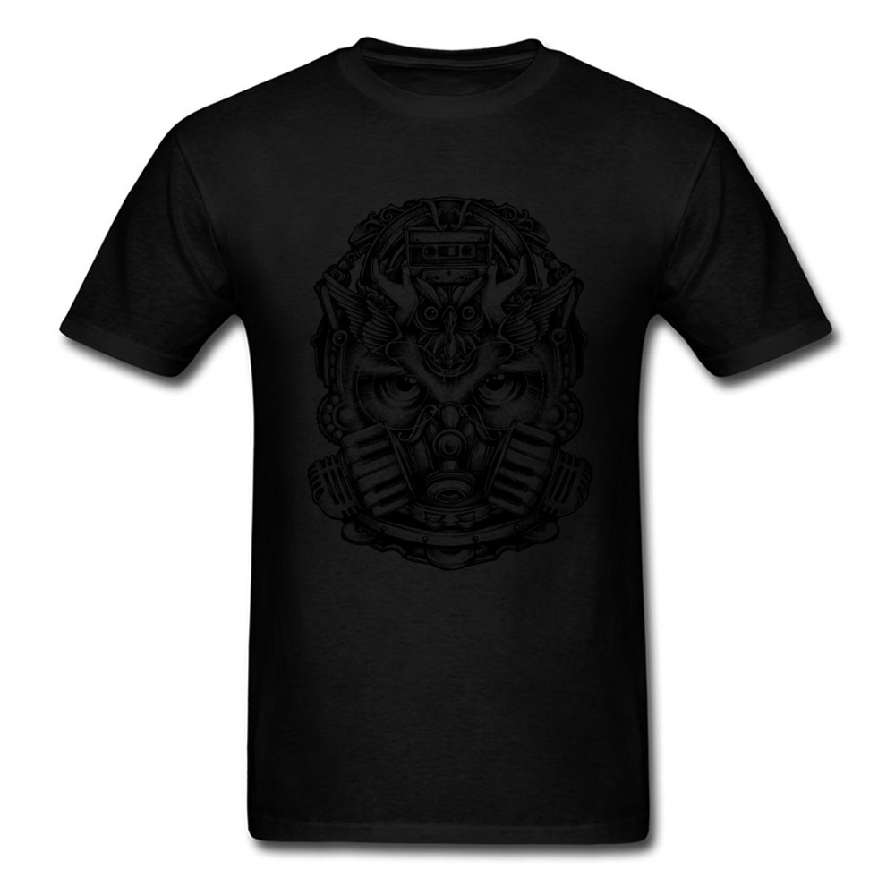 Classic Design T shirt Men Mask Owl Print Tops Cotton Tees Thanksgiving Day T Shirt Personalized Tshirts Punk O Neck Clothing in T Shirts from Men 39 s Clothing