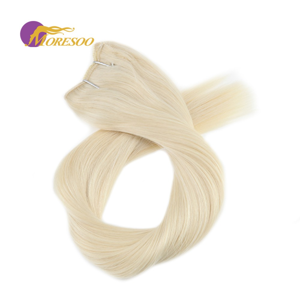 Moresoo Flip In Hair Extensions Short Length 12-14 Inch Fishing Line Invisible Hidden Secret Wire Remy Halo Hair Extensions 50G
