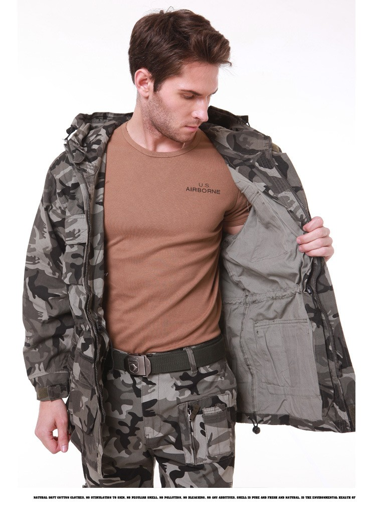UNION ARMY Brand Mens Military Camouflage Jacket  Coat  Men's Winter Casual Hooded Jacket Cargo Coat  Cotton Witch Pocket