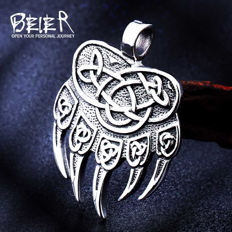 Beier stainless steel Amulet Viking Slavic God Symbol Warding Veles Bear Paw with lucky knot Pendant Necklace Jewelry BP8-291