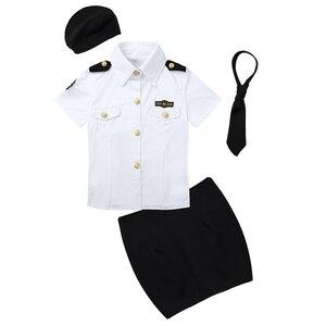 Image 3 - زي تنكري شرطي مثير للسيدات للبالغين ، زي تنكري شرطي ، قميص أبيض ، مع ربطة عنق ، أزياء لعب الأدوار