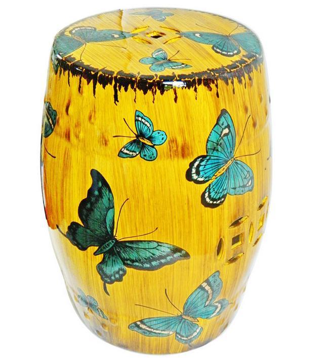 Indoor ceramic antique drum porcelain garden stool glazed for Can ceramic be painted