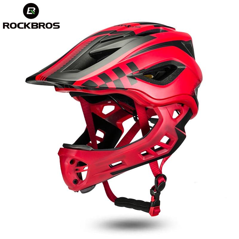 ROCKBROS Full Covered Kids Helmet Bike Bicycle Parallel Car Motorcycle Children Helmet 2 In 1 Sport