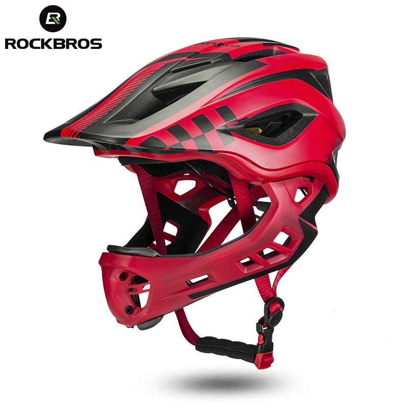ROCKBROS Full Covered Child Helmet Bike Bicycle Parallel Car Motorcycle Children Helmet 2 In 1 Sport Safety Racing Mouth Guard цена