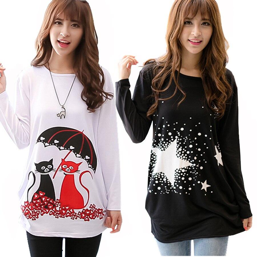 320edb11fb1 2018 Fashion Cartoon T Shirt Women Long Sleeve Tunic Tops Plus Size T-shirts  For Women Winter Female T-shirt Camisas Femininas