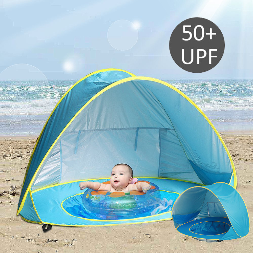 best sneakers 6ccb2 6b9cb US $16.32 33% OFF|Summer Baby Beach Tent UV protecting Sunshelter with Pool  Waterproof Pop Up Awning Tent Children 's Tent Kids Small House-in Toy ...