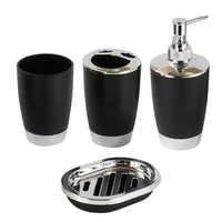 4 piece set / bathroom set shampoo press bottle washware cup toothbrush holder soap dish bathroom accessories for bathroom LB88