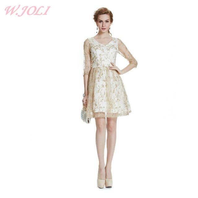 W.JOLI 2017 Sexy Short Lace Evening Dress Bride Banquet Elegant Gold ...