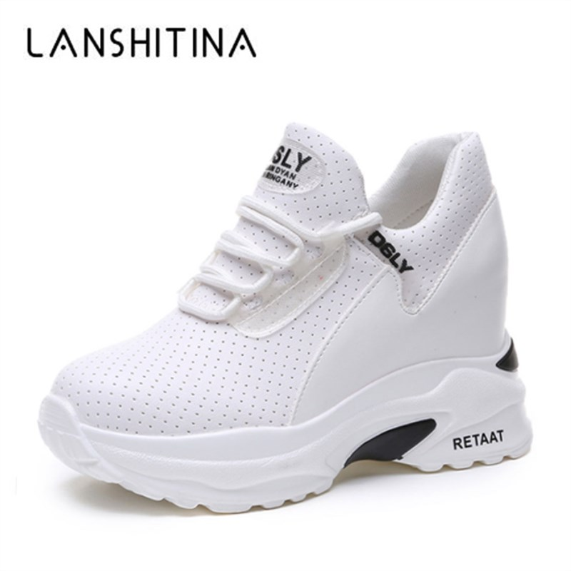 2018 New High Heel 8CM Lady Casual White Shoes Women Sneakers Leisure Outdoor Platform Shoes Breathable Height Increasing Shoes cute lovely color pencil drawing tutorial art book