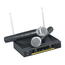 цена на Original Omni-directional Wireless Microphone System Dual Handheld 2 x Mic Cordless Receiver for Karaoke Party KTV Hot +NB