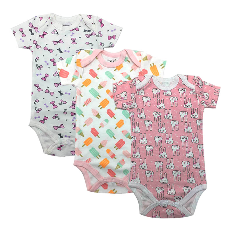 2019 Summer baby Newborn Overall Boy Baby Bodysuits Short Sleeve cotton infant girl Jumpsuit Clothes 3Pieces/lot