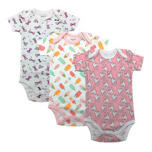 2019 Summer baby Newborn Overall Boy Baby Bodysuits Short Sleeve cotton infant Baby girl Jumpsuit Newborn Clothes 3Pieces/lot 100% cotton baby bodysuit 3pieces lot newborn cotton body baby short sleeve underwear next infant girl pajamas clothes