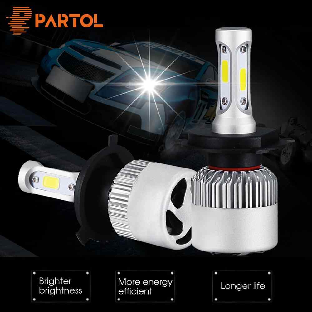 Partol H1 H3 H4 H7 H11 LED Car Headlight Bulbs COB Chips Auto Headlamp Hi-Lo Beam 72W 8000LM 6000K 12V 24V For Truck Offroad 4x4
