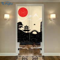 Landscape Noren Japanese Style Door Curtain Canvas Painting Curtain Doorway Bedroom Door Curtains With Adjustable Rod