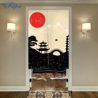Landscape Noren Japanese Style Door Curtain Canvas Painting Curtain Doorway Bedroom Door Curtains With Adjustable Rod